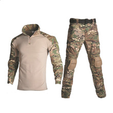 Tactical Camouflage Military Uniform Clothing Suit US Army Multicam Airsoft Combat Two Piece Set Top and Pants Elbow Knee Pads недорого