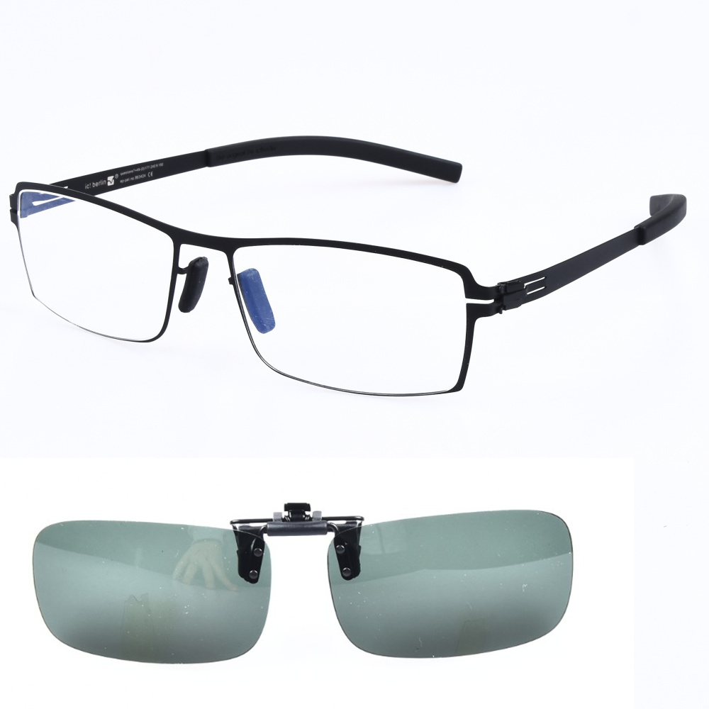 Piazza Occhiali Cornice per Gli Uomini con Occhiali Da Sole Polarizzati Lenti Clip-on Senza Viti Leggero Ottica di Prescrizione di Occhiali Da Vista