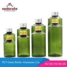 Sedorate 20 шт./лот 50 мл 100 мл 150 мл 200 мл ПЭТ Зеленый бутылка с алюминиевой крышкой Кепки флакон для лосьона для косметические контейнеры JX030