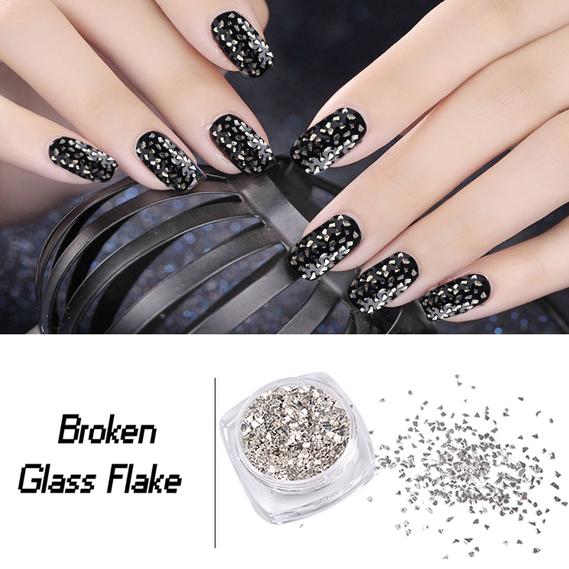 New 5g/box Silver Irregular Broken Glass Flake Nail Art Glitters Powders Creative 3d UV Gel Polish Nail Decoration Tools