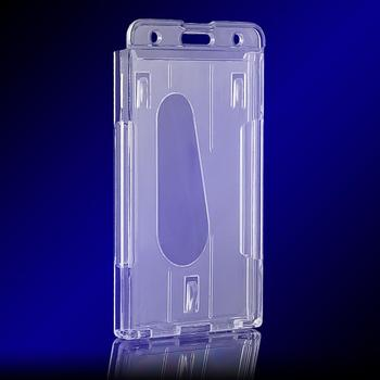 1pc Useful Design Double Card Acrylic Plastic ID Badge Card Holder Card Case Business Case Passport & ID Holders