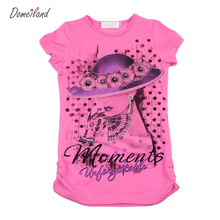 2017 Fashion summer brand domeiland girl clothes Children clothing cute kids short Sleeve slim t shirts  baby Cotton Tops