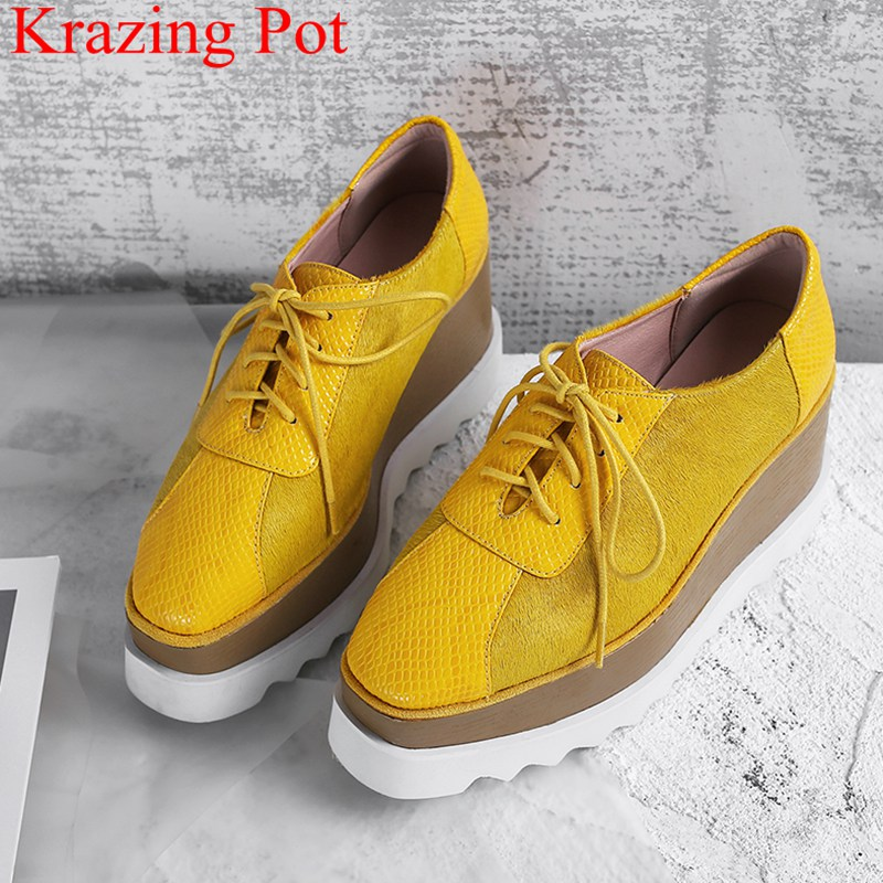 Women Pumps Wedges Platform Lace-Up Casual-Shoes Vacation Square-Toe High-Heels New-Arrival