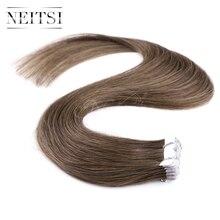 """Neitsi коричневый мини Клейкие ленты в Пряди человеческих волос для наращивания 20 """"2.0 г/шт. 2 #4 #8 #20 штук машина сделала Реми прямо уток кожи Наращивание натуральных волос"""