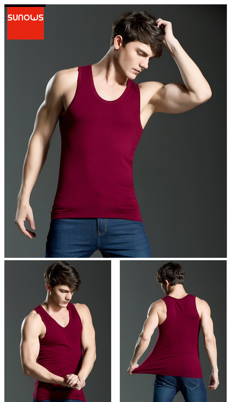 Men's Close-fitting Vest Fitness Elastic Casual O-neck Breathable H Type All Cotton Solid Undershirts Male Tanks 20