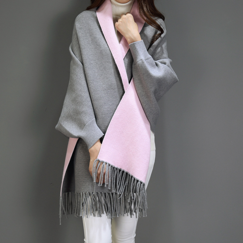VOHIO 2018 blanket scarf ladies imitation cashmere cloak mantle coat autumn winter with sleeve shawl scarf