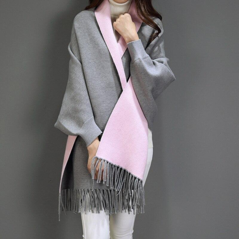 VOHIO 2018 couverture écharpe dames imitation cachemire manteau manteau automne hiver avec manches châle écharpe deux usage épaissi