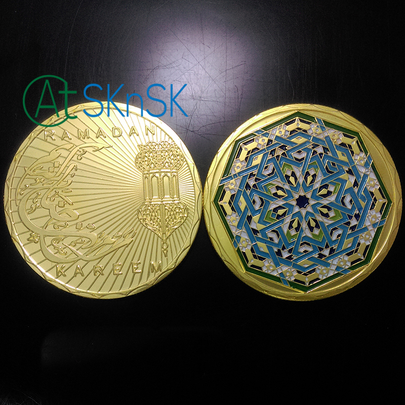 Image 2 - 1/5/10pcs Coins Collectibles Muslim Gift Islam Holy Month of  Ramadan Kareem Gold Plated Token Coin 40mm Souvenir Coins for  SaleNon-currency Coins