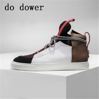 Spring Men Casual Sneaker Winter Male Luxury Trainers Adult Ankle Boots Genuine Leather Cross tied Mixed Color Flat Slip OnShoes