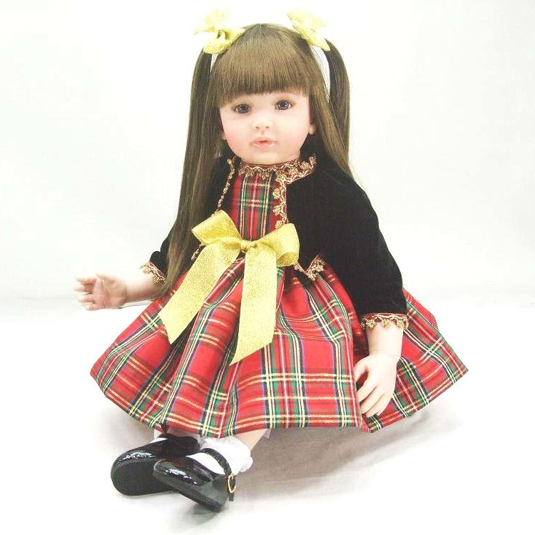55cm 22inch Silicone Reborn Baby Doll Cute Dress Reborn Dolls Babies Long Hair Girl Doll Reborn Baby Toys for Children Gifts baby girl dolls little 55cm cute baby toys reborn baby doll simulation blink eyes children gifts new born gift high end for kids