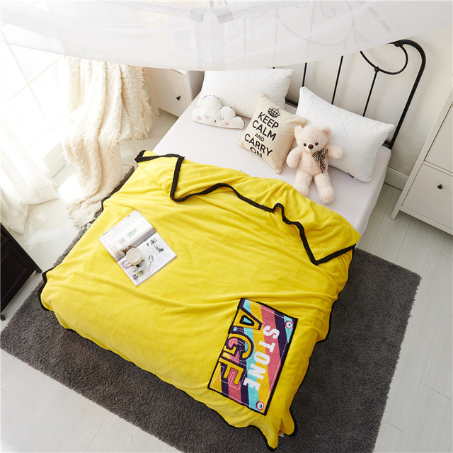 black bag edge yellow color letter pattern soft throw blanket coral
