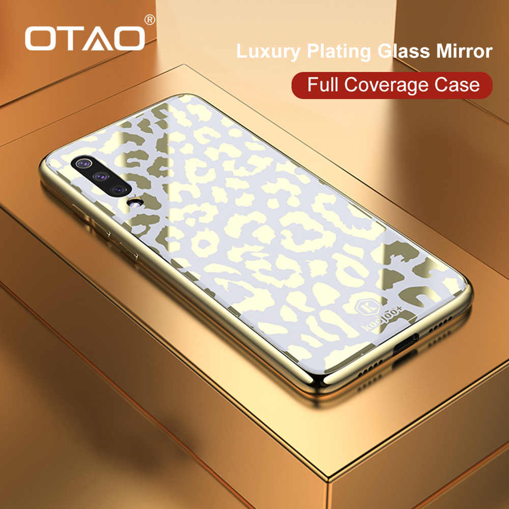OTAO New Plating Glass Leopard Print Case For Xiaomi Mi 8 Lite 9 SE Soft TPU Edge Case For Xiaomi 8 Explorer Hard PC Cover Coque