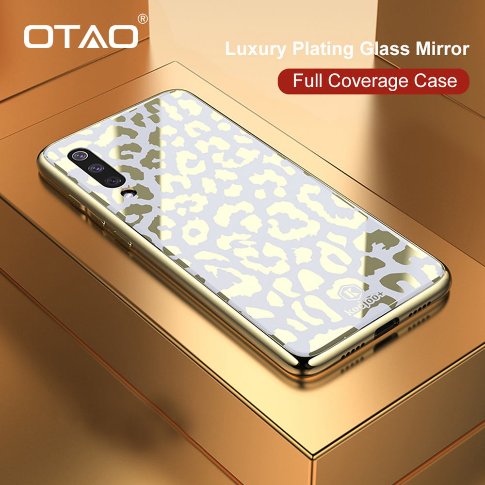 OTAO New Plating Glass Leopard Print Case For Xiaomi Mi 8 Lite 9 SE Soft TPU Edge Case For Xiaomi 8 Explorer Hard PC Cover Coque-in Fitted Cases from Cellphones & Telecommunications