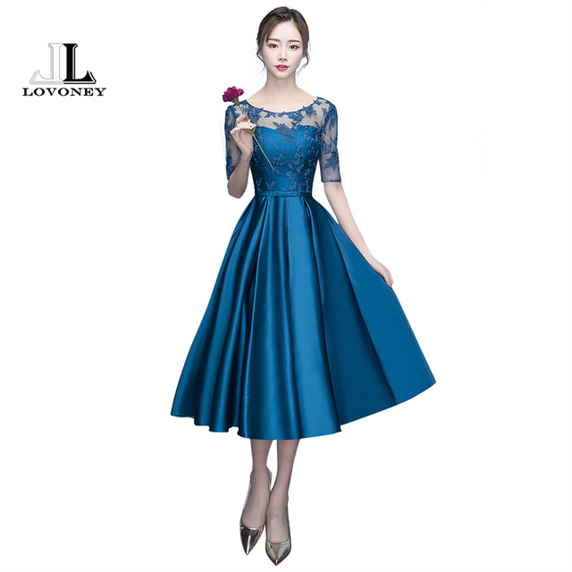 3fdf545df LOVONEY A-Line Tea-Length Half Sleeve Satin Evening Dress Short Prom Party  Dresses Formal Evening Gowns Robe De Soiree M234