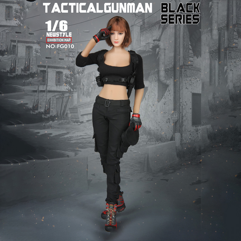 1/6 Scale accessories Fire Girl Toys FG010 Black Tactical female gunner Full Cool Clothing Sets Fit 12 Inch Action Toys Figure