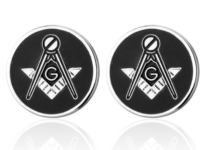 Classic Black Masonic Cufflinks Freemason Masonry Cuff Links Men Cuff Buttons Garment Accessory Jewelry Gift Free Mason 10pairs