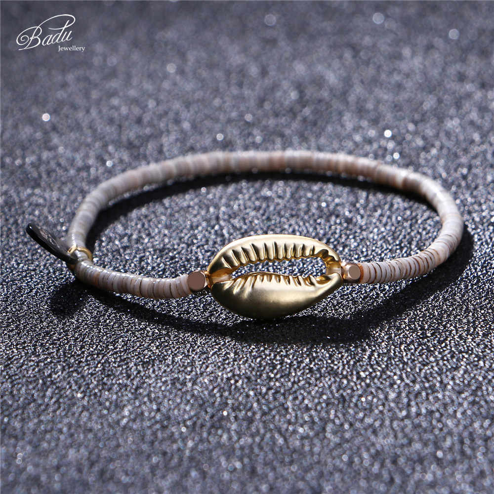 Badu Golden Shell จี้สร้อยข้อมือสำหรับสตรีฤดูร้อน Polymer สร้อยข้อมือลูกปัดแฟชั่นอุปกรณ์เสริมขายส่งเครื่องประดับ