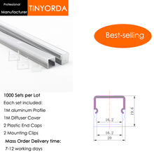 Tinyorda 1000Pcs (1M Length) Led Alu Profile  Channel Profil for 16mm LED Strip Light 1M channel