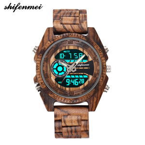 Image 4 - Shifenmei Digital Wood Watch for Men Auto Chronograph Military Wristwatch a Mans Dual Display Watches Luminous Relojes Hombre