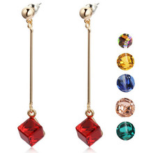 Fashion Long Drop Earrings Classic Square Crystal 18K Gold Plated Earrings Jewelry Wholesale
