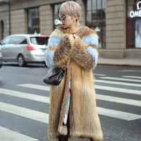 2018 new fashion winter real fox fur coat women with hood jacket plus size X long style natural fox fur knitting clothes