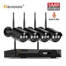 Einnov 8CH 5MP беспроводная камера безопасности CCTV система наружного видеонаблюдения 8CH Wi fi NVR комплект HD ночного видения P2P водонепроницаемый