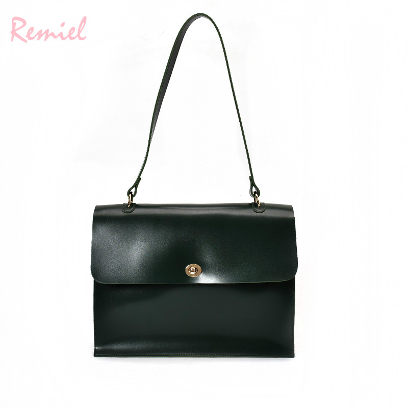 Image 2 - Retro Fashion Female Big Bag 2018 New Quality PU Leather Women's Designer Handbag Ladies Briefcase Tote Shoulder Messenger Bags-in Shoulder Bags from Luggage & Bags