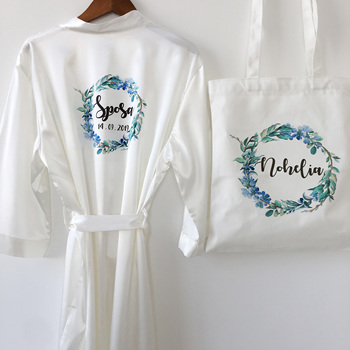 1pcs lot Embroidery Printing name Satin Kimono Robes Bridal Hen Birthday Party  Personalized Bridesmaid gift Nightwear Robe 1