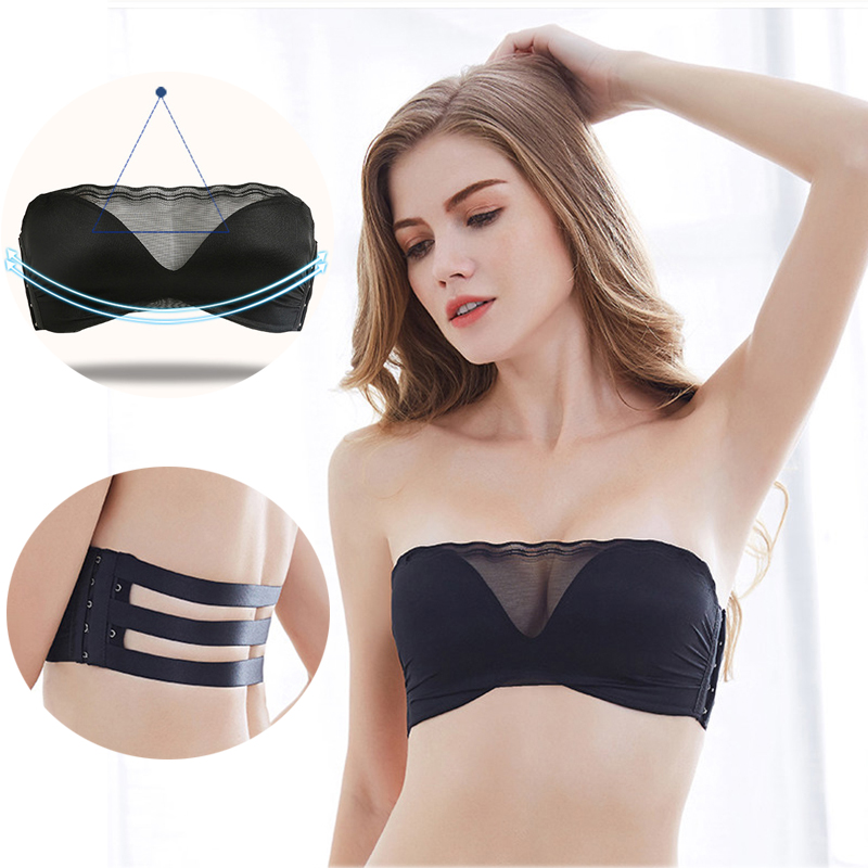 25aea6d2a3 Lingerie Push Up Bra Strapless Bras For Women Bralette 1 2 Cup Back Band  Dress Exposure Proof Backless Invisible Underwear  D