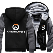 2017 New OW Hoodies Sweatshirt Anime Winter Game Warm Liner Coats Jackets Men Fleece OW Printed Sweatshirt Plus Size M-5XL