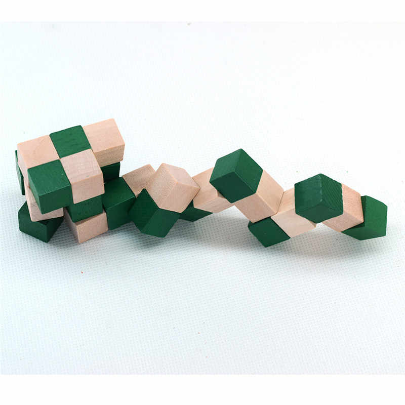 27 Sections Cube Wooden Snake Ruler Snake Twist Puzzle Hot Selling Challenge IQ Brain Toys Classic Game New