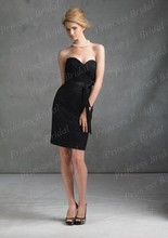 Free Shipping 2014 Newest Style Sheath Sweetheart Knee Length Black Bridesmaid Dresses Lace With Sash BD072