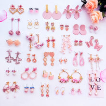 2018 Simple Korean Girl Cute Heart Pink Earrings Princess Bow Drop Earrings Wholesale for Women Fashion Jewelry Accessories(China)
