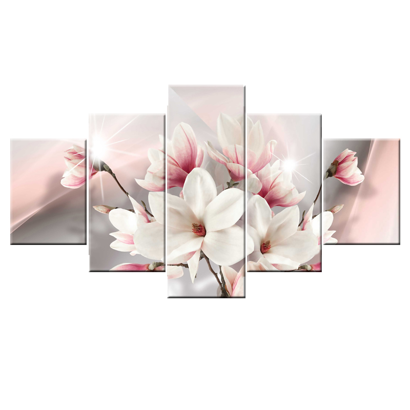 Pink Flowers Modern Canvas Wall Art Paintings Red Artwork for Bedroom Living Room Decoration