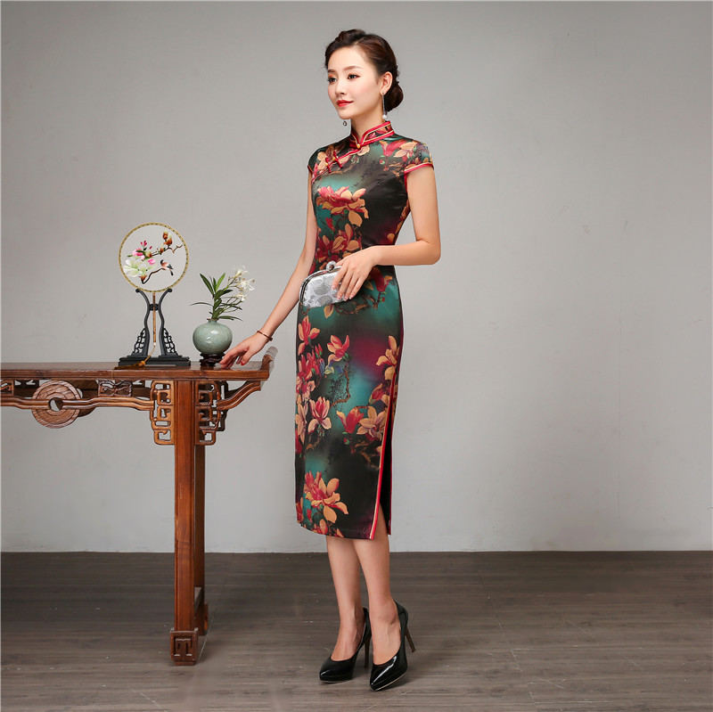 Royal Women Casual Daily Dress Chinese Style Print Flower Qipao 100% Silk Long Cheongsam Vintage Evening Party Dressing Gown - 5