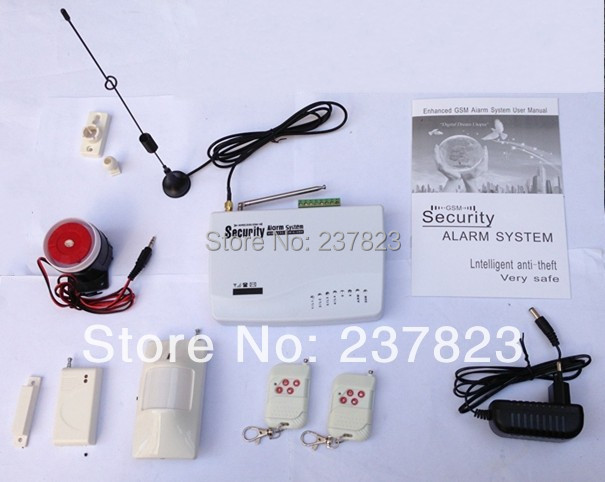 free shipping Intercom home security wireless GSM alarm system 2 year warranty 900/1800MHZ with russian manual