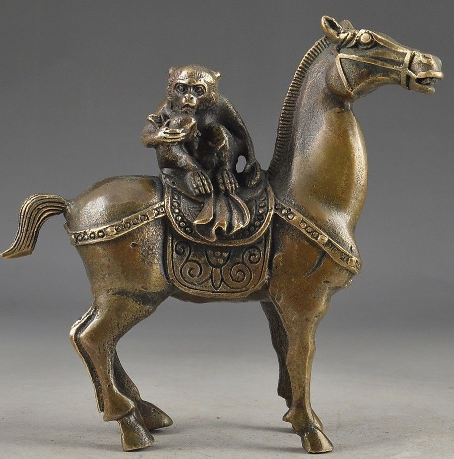 Crafts Chinese Year of the Horse mascot Vintage Brass Handwork Hammered The Monkey Riding Horse Lucky Statue