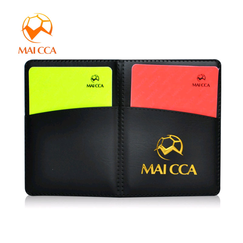MAICCA Soccer Referee Cards With Pen Red Card Yellow Card PU Football Notebook Set Professional Referee Equipment