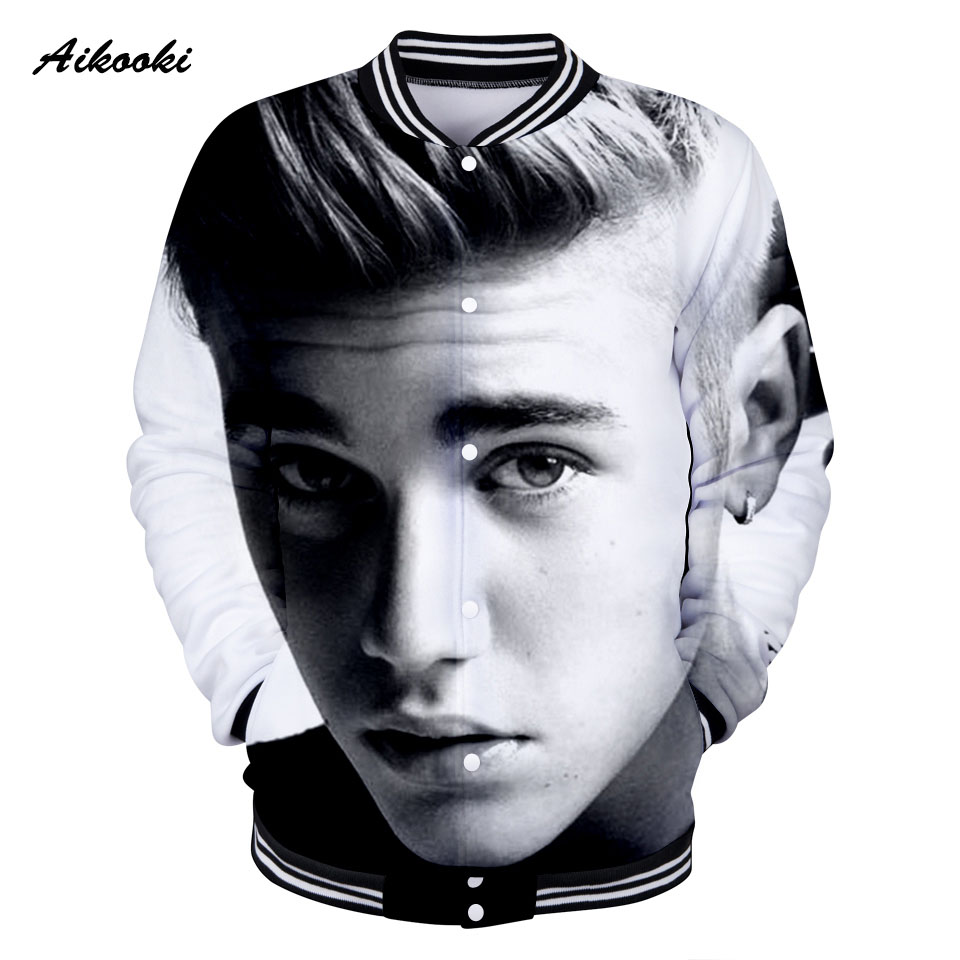 Aikooki Famous Star Justin Bieber 3D Jacket Women / Men Sweatshirt Jacket 3D Idol Girls/ Boys Jackets Baseball Fashion Thin Tops