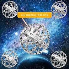 Astronomical Sphere Ball Ring Necklace Pendant Folding Ring Cosmic Finger Ring Lover Jewelry