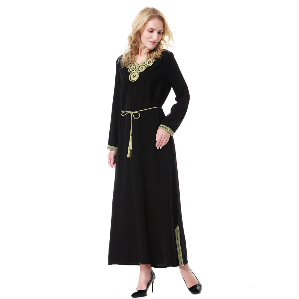 Women Linen Long Sleeve Patch Designs Appliques Hem Split Muslim Abaya  Dresses Islamic Clothing Vintage Arab Robes Saudi Arabia-in Islamic Clothing  from ... 59ef8b031531