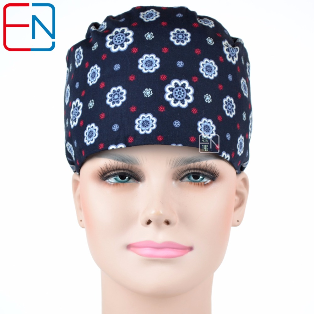 Hennar Women Medical Surgical Hats Dentist Scrub Doctor Caps Blue Print Cotton Hospital Clinic Work Caps Medical Accessories