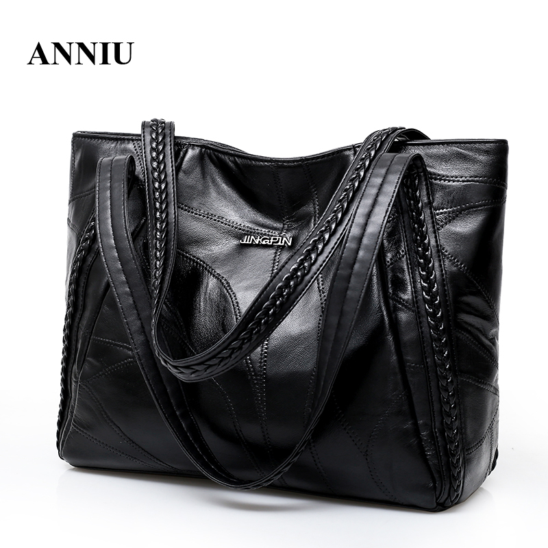 2018 New Arrival Women's sheepskin soft leather shoulder bag lady Famous Brand Casual Tote big capacity SAC A MAIN new 2017 fashion leather lady patchwork natural sheepskin shoulder bag famous brand women s bag casual bag