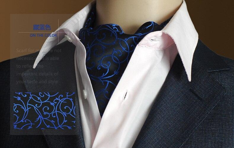 Móda Vintage Značka Pánská 100% hedvábně dlouhá šála / kravatová šála černé tečky jaro podzim zima