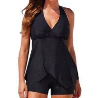 Halter V Neck Swimsuit Women Swimwear Sexy Two Piece Tankini Shorts Beach Bathing Suit Black Plus