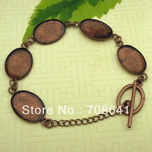 Blank Bracelet Bases Settiings 13x18mm Oval Bezel tray Glass Cabochons Pad cuff Bangle Bracelet Findings Antique