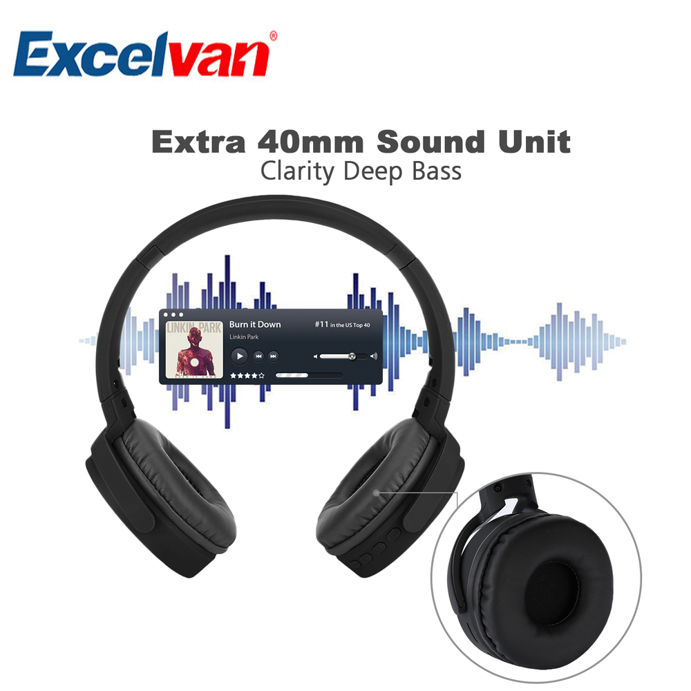 Excelvan Bluetooth Wireless Headphone FM Mode TF card Supported Calling Function Foldable Headset 40mm Extra Heavy Bass Earphone