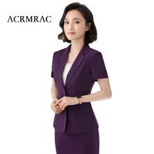 ACRMRAC Women's clothing 2018 New Solid color Slim Short sleeve jacket pants Single Breasted Business OL Formal Pant Suits