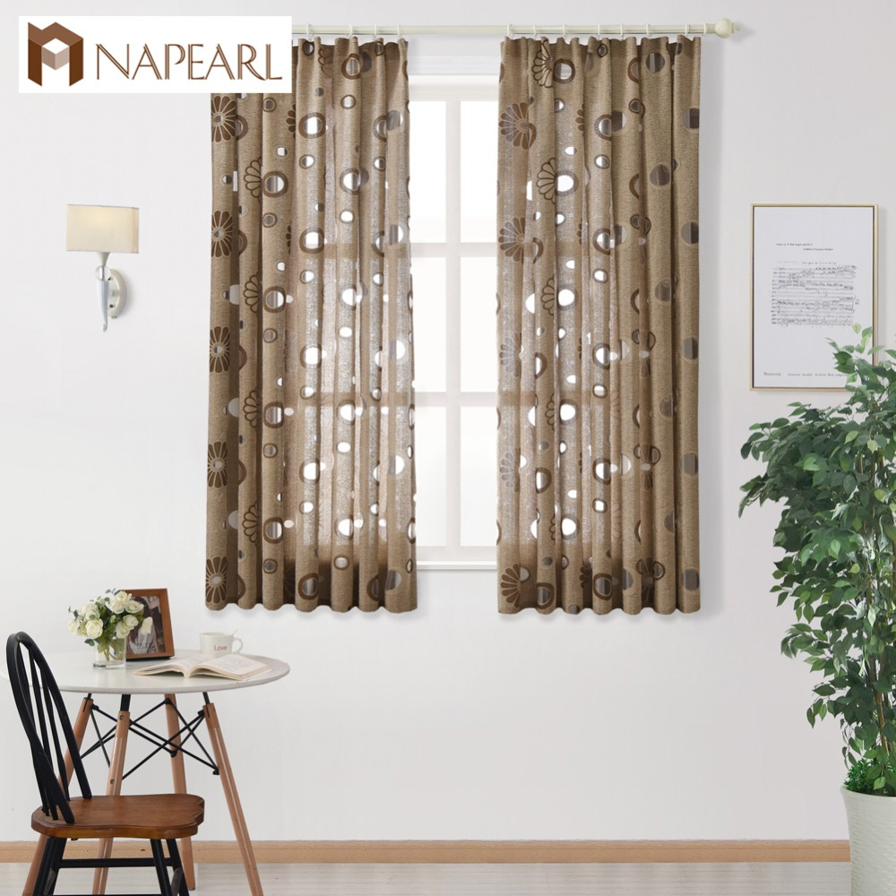 NAPEARL 1 PC Kitchen Door Curtains Semi-blackout Curtains For Living Room Ready Made Panel Drapery Window Floral Jacquard Design