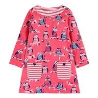Princess Dress Reine Des Neiges 2017 Brand Baby Girls Summer Dress With Pocket Animal Printed Children